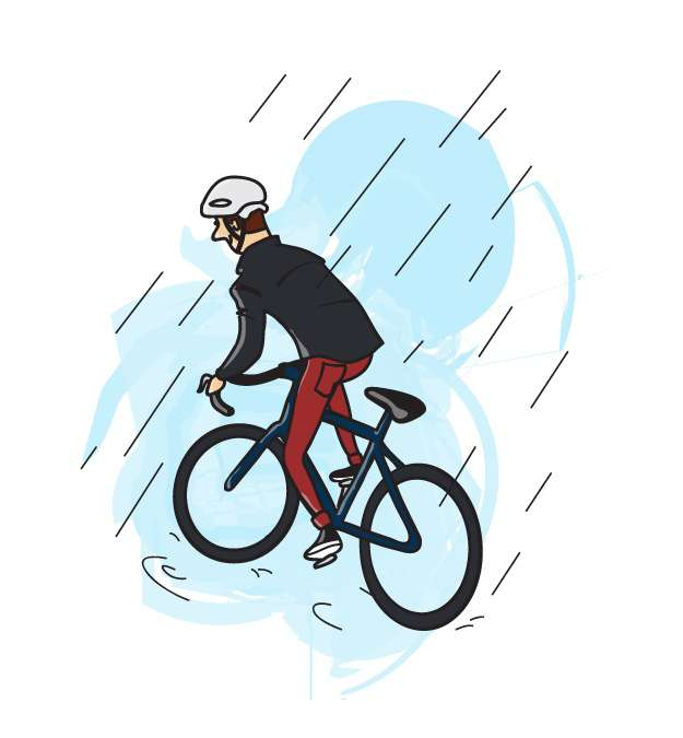 Cycling Rain Picture Illustration F