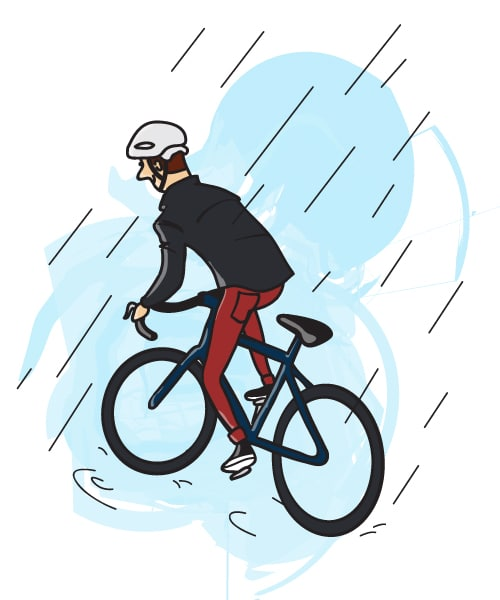 Cycling Rain Picture Illustration