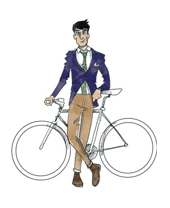 Urban Cyclist Illustration Stylish