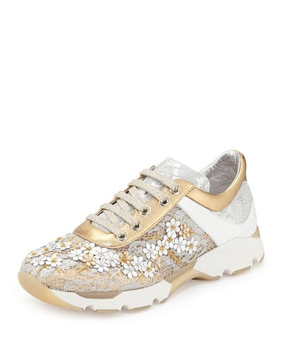 Neiman-Marcus-Rene-Caovilla-Metallic-Floral-Lace-Up-Sneakers